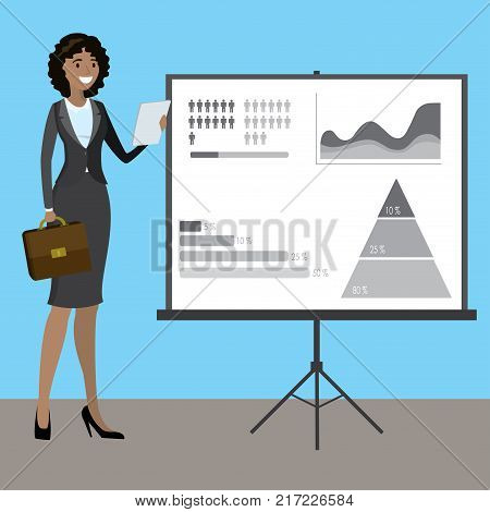 African american business woman presenting, cartoon stock vector illustration.