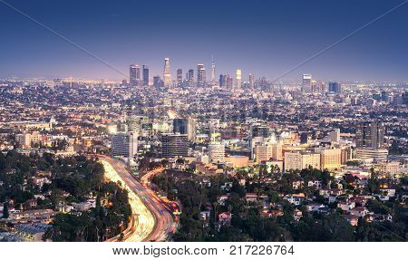 Los Angeles California USA downtown cityscape at smoggy night