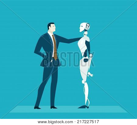 Humans vs Robots. New era of artificial intelligence controlling, supporting, making decisions and creating ideas.