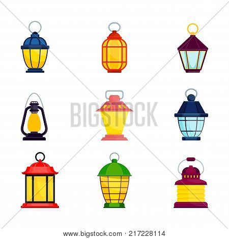 Set of bright old fashioned hand flashlight. Kerosene lamp, candle for lighting streets, houses. Decor for festival, birthday, wedding. Flat vector illustration. Objects isolated on white background.