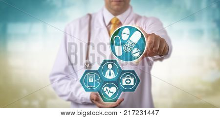 Unrecognizable doctor offering a prescription update to a male patient via internet connection and smart phone. Healthcare technology concept for telemedicine telepresence remote health check-up.