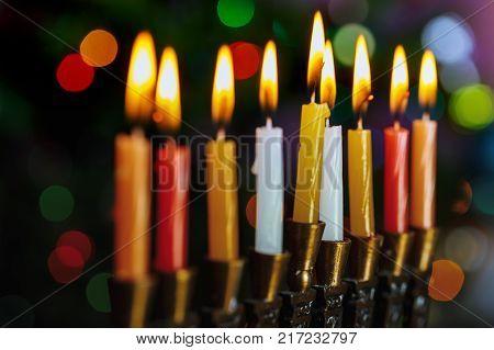 Jewish holiday, Holiday symbol Hanukkah Brightly Glowing Hanukkah Menorah - Shallow Depth of Field