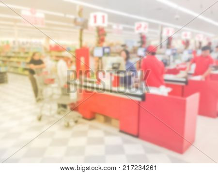 Blurred Image Check-out Counter At Asian Store In Houston, Texas, Us