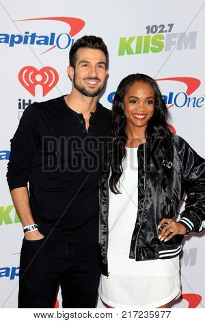 LOS ANGELES - DEC 2:  Bryan Abasolo, Rachel Lindsay at the Jingle Ball 2017 at the Forum on December 2, 2017 in Inglewood, CA