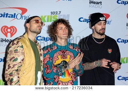 LOS ANGELES - DEC 2:  Cheat Codes, Matthew Russell, Trevor Dahl, KEVI at the Jingle Ball 2017 at the Forum on December 2, 2017 in Inglewood, CA