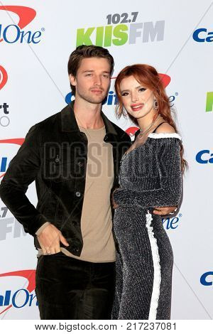 LOS ANGELES - DEC 2:  Patrick Schwarzenegger, Bella Thorne at the Jingle Ball 2017 at the Forum on December 2, 2017 in Inglewood, CA