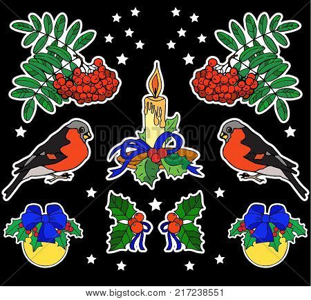 Rowanberry, bullfinch and candle. Print on tshirts and other materials. Set of stickers, pins, patches and handwritten notes collection in cartoon. Vector illustration