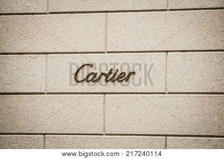 Milan, Italy - September 24, 2017:  Cartier Store In Milan. Fashion Week Cartier Shopping
