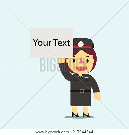 Thai woman police holding white empty board for your text vector. Flat cute woman police character vector.Cop vector