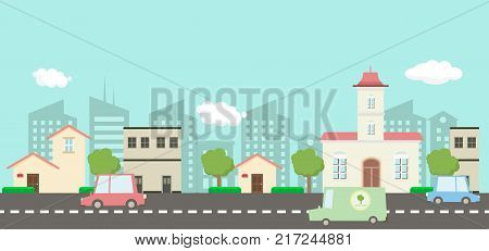 Street in public park with nature landscape and car building background vector illustration.Main street scene vector.City street with sky background