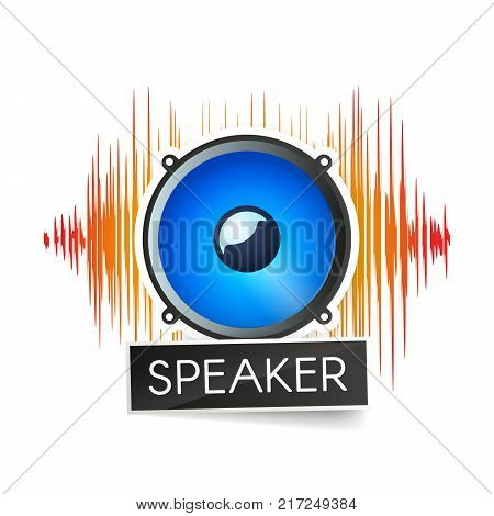 Blue speaker and orange waveforms on white background logo. Logotype of radio stations or apps vector illustration