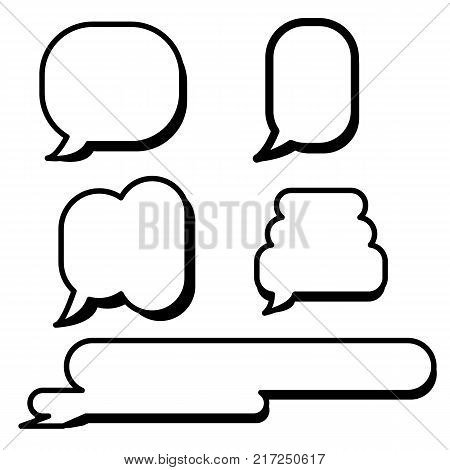 Set of cartoon text boxes with simple shapes vector illustration.Bubbles blank speech.Speech comic set vector