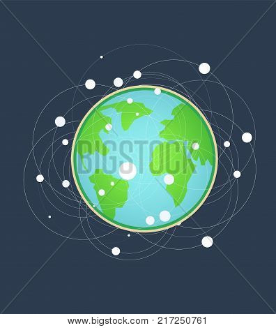 Flat earth and communication on surface.Earth symbol of high speed and technology vector illustration.Global dimensions earth technology concept.World technology in cartoon style.