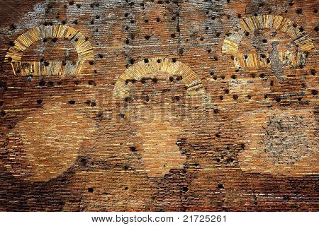 Ancient Roman Wall Ruins Background Ostia Antica Rome Italy