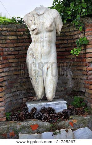 Ancient Roman Nude Woman Statue Ostia Antica Rome Italy