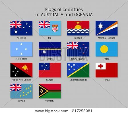 Flags countries Australia and Oceania flat style set. Collection of national symbols. Vector illustrations of tribes, aborigines, peoples, pacific ocean concept
