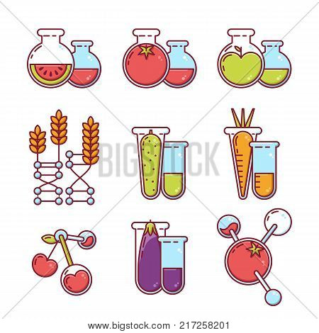 Vector icons set. Illustration of fruits vegetables with pesticides and chemicals. Unhealthy or gmo food concept. Farming and agriculture modified technologies poster