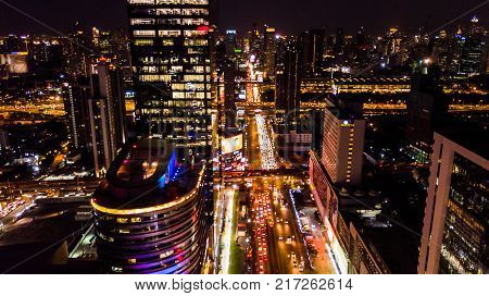 Aerial View Of  Building Or City In Night Time