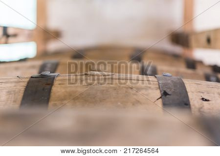 Close Up of Bung Plugging Barrel in factory
