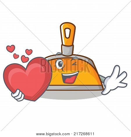With heart dustpan character cartoon style vector illustration