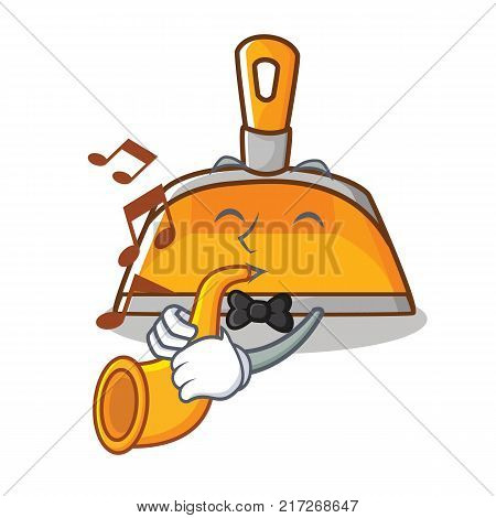 With trumpet dustpan character cartoon style vector illustration