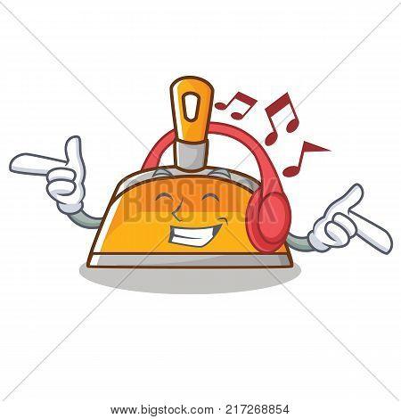Listening music dustpan character cartoon style vector illustration