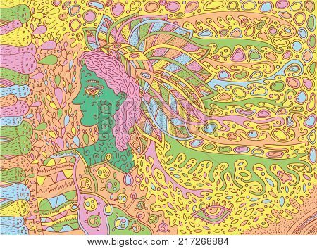 Shamanic forest spirit. Doodle cartoon art. Vector illustration