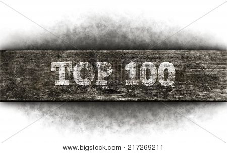 top hundred text on old wooden plank
