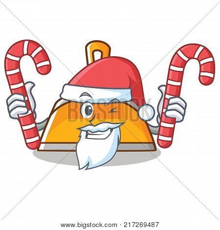 Santa with candy dustpan character cartoon style vector illustration