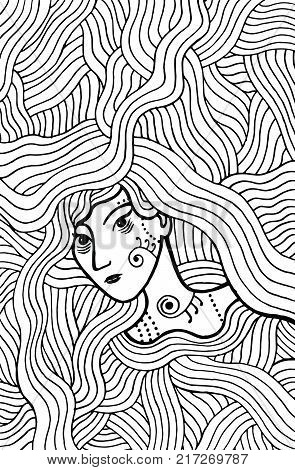 Shaman mystic girl with wavy hair. Doodle coloring page for adults. Vector illustration.