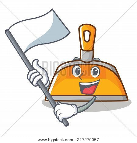 With flag dustpan character cartoon style vector illustration