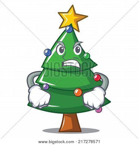 Angry Christmas tree character cartoon vector illustration