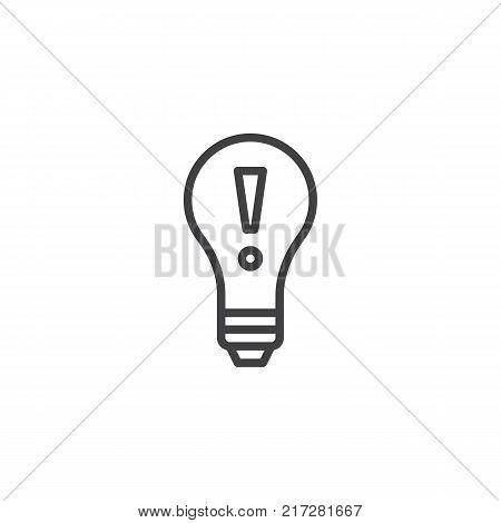 Idea lightbulb line icon, outline vector sign, linear style pictogram isolated on white. Lamp with exclamation mark symbol, logo illustration. Editable stroke