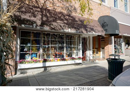 PETOSKEY, MICHIGAN / UNITED STATES - OCTOBER 18, 2017: One may purchase outdoor apparel and sporting goods at Bearcub Outfitters, on Lake Street in downtown Petoskey.