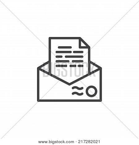 Recommendation letter envelope line icon, outline vector sign, linear style pictogram isolated on white. Resume mail symbol, logo illustration. Editable stroke