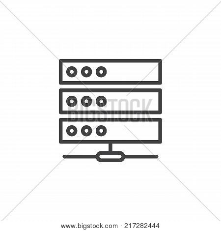 Computer server line icon, outline vector sign, linear style pictogram isolated on white. Database symbol, logo illustration. Editable stroke