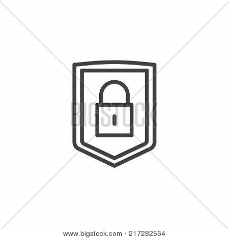 Security shield with lock line icon, outline vector sign, linear style pictogram isolated on white. Protection padlock symbol, logo illustration. Editable stroke