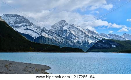 Spray Lake in Spray Valley Provincial Park. Turquoise lake in Canadian Rockies. Alberta. Canada.
