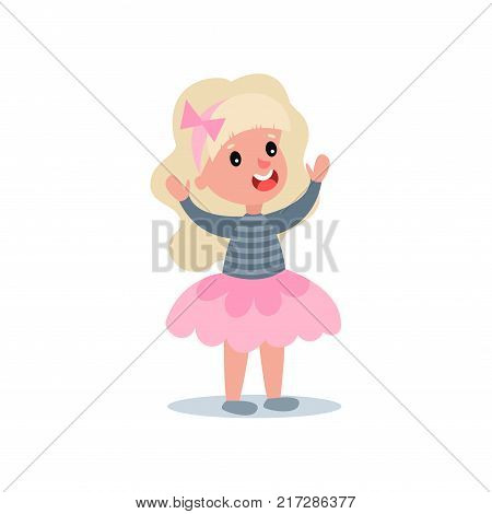 Cheerful little girl with long blond hair in puffy pink skirt and blouse with stripes. Cartoon kid character with happy face expression standing with hands up. Isolated flat style vector illustration.