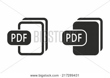 PDF vector icon. Black illustration isolated on white background for graphic and web design.