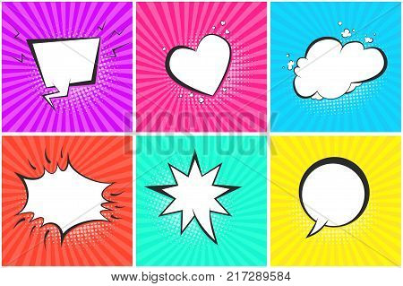 Comic speech bubbles on halftone backgrounds set in pop art style. Black outline blank message balloons in shape of cloud heart star circle for comics book advertisement text web design badge