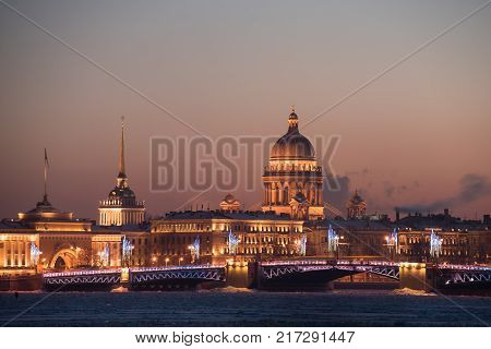 View From The River Is Not On The Main Attraction Of St. Petersburg St. Isaac's Cathedral.