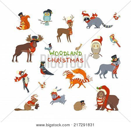 Vector set of forest animals dressed in Santa hat and scarf. Cute animals on white background. Moose bear fox wolf deer owl hare squirrel raccoon hedgehog and birds.