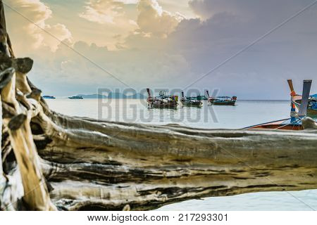 long tailed boat fishing boat motor boat on the sunrise scene