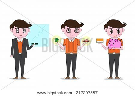 Men dress up in polite orange , Holding model car and house. Investment Ideas and Credit and Savings. -Vector illustration eps 10