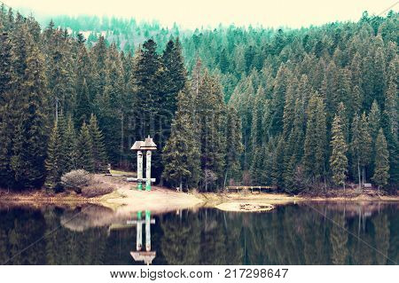 A Beautiful Mountain Lake. The Lake In The Carpathians. Lake Synevyr.