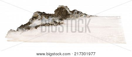 macro shooting of natural mineral rock specimen - raw crystal of xonotlite gemstone isolated on white background from Norilsk district, Russia