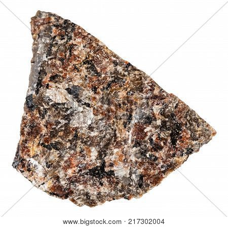 macro shooting of natural mineral rock specimen - raw spreusteined urtite stone isolated on white background from Khibiny Mountains, Kola Peninsula, Russia