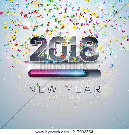 2018 New Year Coming Illustration with 3d Number and Progress Bar on Shiny Confetti Background. Vector Holiday Design for Premium Greeting Card, Party Invitation or Promo Banner