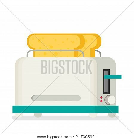 Toaster flat vector icon isolated on white background